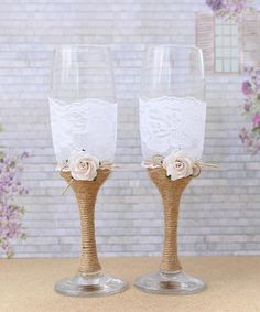 Wedding Glasses Burlap and Lace Toasting Flutes Mr and Mrs Champagne Glasses…