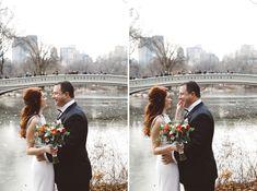 Lauren & Russ Bow Bridge Elopement Central Park Weddings, Bridesmaid Dresses, Wedding Dresses, Cold Day, Bridge, Bows, Pretty, Bride Maid Dresses, Bride Gowns