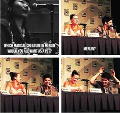 [GIF] Katie would want Merlin as a pet... << XD Is Colin pretending he has rabbit ears?