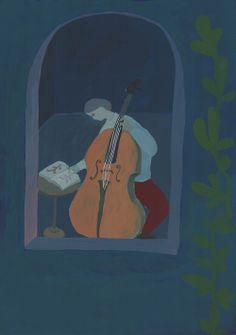 """""""Cello"""" by shohei morimoto, acrylic gouache, paper 420 x 297 mm 2012"""