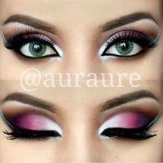 pink, purple & teal Arabic makeup