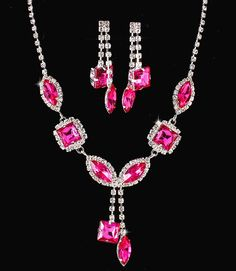 Hot Pink Fuchsia Crystal Rhinestone Formal Wedding Bridal Prom Party Pageant Bridesmaid Evening Mixed Marquise Square Stones Necklace Earrings Set Elegant Costume Jewelry
