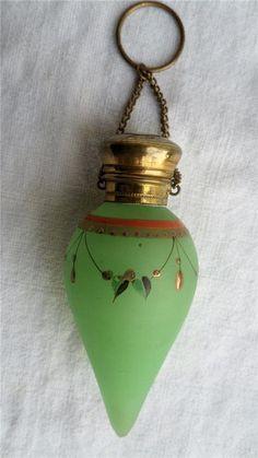Antique Green Opaline Glass Chatelaine Scent/Perfume Bottle Raised Enamel  C1900