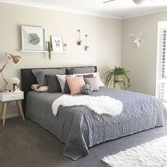 The pretty bedroom of Canberra's @styledbydi  tap for shop small details