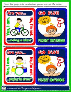 ACTIONS + PRESENT CONTINUOUS GO FISH! GAME