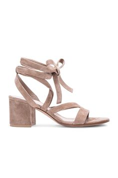 Gianvito Rossi Suede Lace Up Sandals in Bisque