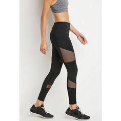 Forever21 Active Mesh Insert Leggings ($23) ❤ liked on Polyvore featuring activewear, activewear pants, black, forever 21 activewear and forever 21