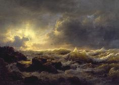 Clearing Up, Coast of Sicily, a painting by Andreas Achenbach, Walter Crane, Pierre Auguste Renoir, Claude Monet, Oil Painting On Canvas, Artist Painting, Free Pictures, Free Images, Stormy Sea, Crashing Waves