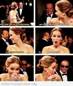 Look this video up on you tube, my favorite Jennifer Lawrence moment Jack Nicholson, The Shining, Oscar 2013, Doug Funnie, J Law, Makeup Tumblr, Have A Laugh, Look At You, Looks Cool