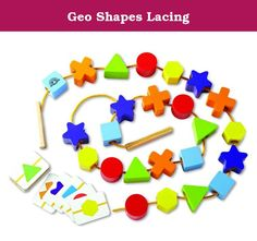 Geo Shapes Lacing. WED-3109 Features: -Learn geometric shapes and play lacing game. -Helps promote hand eye coordination. -Eco-Friendly: Environmentally friendly rubberwood and strictly using non-toxic paints, dyes and lacquers and formaldehyde free glue. -Eco-Friendly: Packaging is made from at least 70% Recycled paper. Gender: -Boy. Gender: -Girl. Product Type: -Fine Motor Skills. Material: -Wood. Dimensions: Overall Height - Top to Bottom: -1 Inches. Overall Width - Side to Side: -6...