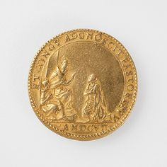"Giorgio Roncetti (Italian, ca. 15th–16th century). Gold Medal Cast on the Occasion of Kongo Ambassador Antonio Manuel's visit to Pope Paul V. Royal Museum for Central Africa, Tervuren, Belgium (HO.1951.26.1)| This work is featured in our ""Kongo: Power and Majesty"" exhibition on view through January 3, 2016 #KongoPower"