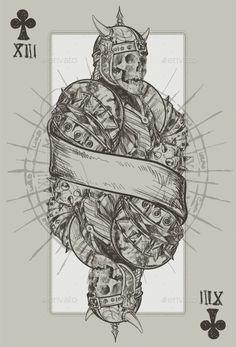 Jack Suit of Clubs (Vector EPS, CS2, armor, bones, death, drawing, evil, illustration, jack, knight, Mace, necromancy, painting, pattern, pentagram, playing cards, retro, roman numerals, skeleton, sketch, skull, suit of clubs, vector, vintage, weapons)