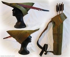Robin Hood Hat and Quiver by tursiart Diy Costumes, Halloween Costumes, Halloween 2018, Halloween Party, Disfraz Peter Pan, Peter Pan Hat, Medieval Costume, Green Hats, Medieval Clothing