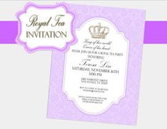 ROYAL TEA Party - INVITATION - Girls Birthday - Baby Shower - Bridal- Wedding- Ladies - Woman Party - English Tea -Krown Kreations