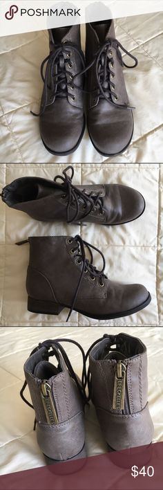 """Cute fall booties Brown / taupe lace up ankle boots from Breckelle's. I think the style is called Georgia bootie. The first picture is most accurate color wise - they're a light greyish brown. Half zip detail on the backs. Only worn a couple times but they're in great condition! Very cozy and perfect with boot socks and leggings. The heel is about 1"""". Perfect boots for chilly weather! 🌨 Breckelles Shoes Lace Up Boots"""