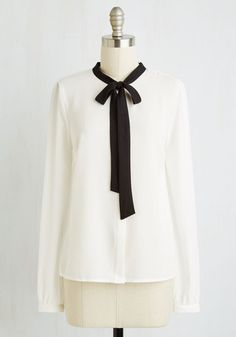 Fun with Symphonics Top. Have a ball making a harmonious series of ensembles with this ivory blouse! #gold #prom #modcloth