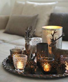 Romantische kerstsfeer in bruin/grijs-tinten