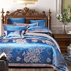 Shuian® Luxury Jacquard Cotton 4pcs Bedding Set Pillowcase Covers Sheet Home Textiles Quilt Cover Bed Flat Sheet - CAD $ 105.63