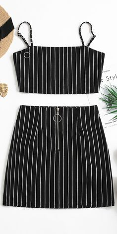 Black Striped Crop Top And Zip Front Skirt Set, Summer Outfits, Black Striped Crop Top And Zip Front Skirt Set Occasion: Casual,Going Out Style: Casual Fit Type: A Line Collar-line: Spaghetti Straps Sleeves Length:. Summer Outfits, Casual Outfits, Cute Outfits, Fashion Outfits, Two Piece Dress, Two Piece Outfit, Bra And Brief Sets, Striped Crop Top, Elegant Outfit