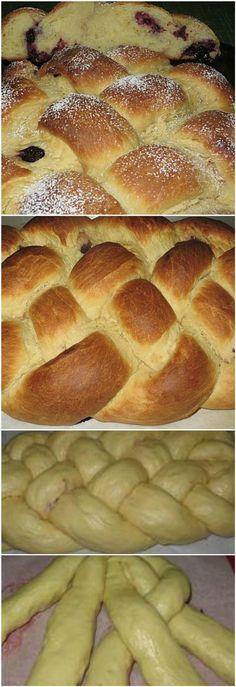 Treccia di pan brioche a  5 intrecci  con mirtilli e more - con VIDEO RICETTA . #treccia #panbrioche #5intrecci #treccia5intecci #videoricetta #mirtilli #more #ricettegustose