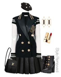 Paris Chic by sherristylz on Polyvore featuring polyvore, fashion, style, Faith Connexion, Balmain, Dolce&Gabbana, Louis Vuitton, Natama Design, Berry, Yves Saint Laurent and clothing