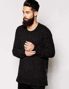 Religion Jumper in Longline Textured Knit with Zips
