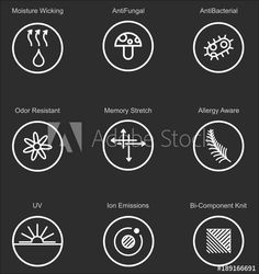 Garments fabric technology and properties vector icon set. Antibacterial and breathable material illustration Tag Design, Icon Design, Protection Logo, Line Icon, Design Thinking, Vector Icons, Icon Set, Royalty Free Images, Technology