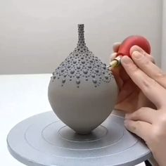 Decorating a hand thrown vase with black slip dots. About 45 minutes condensed in this video. Decorating a hand thrown vase with black slip dots. About 45 minutes condensed in this video. Pottery Painting, Pottery Vase, Ceramic Pottery, Ceramic Vase, Pottery Tools, Ceramic Decor, Ceramic Techniques, Pottery Techniques, Pottery Courses