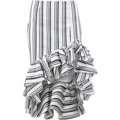 Caroline Constas Striped Ruffle Pencil Skirt ($485) ❤ liked on Polyvore featuring skirts, pencil skirt, knee length pencil skirt, cotton knee length skirt, ruffle skirt and striped skirt