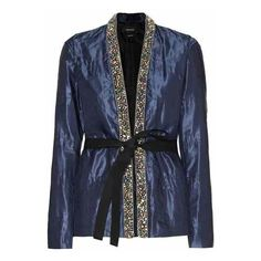 Isabel Marant Jasia Silk and Cotton Jacket ($1,585) ❤ liked on Polyvore featuring outerwear, jackets, isabel marant, cotton jacket, silk jacket, isabel marant jacket and blue cotton jacket