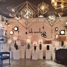 Kelly Wearstler lighting, gold chandelier, black chandelier, high point market