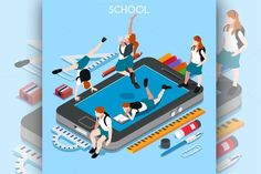 School Devices Smartphone - Illustrations [Happy to go back to school with my NEW School Devices Smartphone! Be isometric smartpeople ;)]