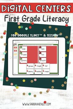 Literacy Centers are the number one way to give your students review and enrichment during small group instruction. Using digital centers will help reduce prep time (no printing, laminating, or cutting) and allow you to assign center activities inside your virtual classrooms. #Digital #LiteracyCenters #FirstGrade