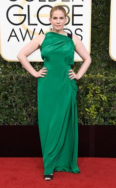 "Anna Chlumsky from Worst Dressed at Golden Globes 2017  It's tough to call the worst dressed on the red carpet, but someone has to do it. These are the stars that get an ""A"" for effort, but missed the mark.Anna Chlumsky's emerald number drapes over her shape. A better fitting bodice and a split may just be what this dress needs."