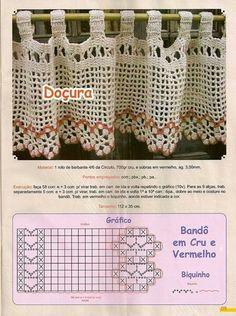 Cortina Crochet Curtain Pattern, Crochet Leaf Patterns, Crochet Leaves, Crochet Curtains, Curtain Patterns, Crochet Kitchen, Crochet Home, Crochet Trim, Filet Crochet