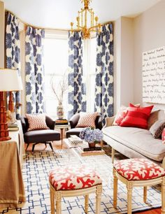 Home Chic Raleigh Figuring Out My Living Room Style Blue Patterned Curtains