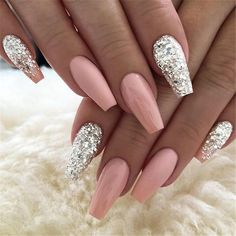 / bag Ballerina Nail Art Tips Transparent / Na .- / bag Ballerina Nail Art Tips Transparent / Natural False Casket Nails Art Tips Flat Shape Full Cover Manicure Fake - Cute Acrylic Nails, Acrylic Nail Designs, Cute Nails, Nail Art Designs, My Nails, Nails Design, Silver Nail Designs, Salon Design, Best Nails