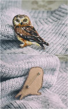 embroidery brooch owl brooch to order custom embroidery brooch especially for you Bird brooch textile brooch Custom Embroidery, Bird Embroidery, Hand Embroidery Stitches, Embroidery Jewelry, Cross Stitch Embroidery, Embroidery Patterns, Blue Sapphire Necklace, Embroidered Bird, Bird Crafts