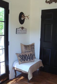 cute pillow with street number for front porch