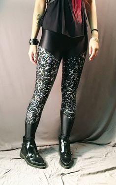 Splash Leggings   sophireaptress Wet Look, Black Silver, Leather Pants, Leggings, Halloween, Pattern, Fashion, Leather Jogger Pants, Moda