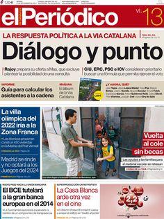 Los Titulares y Portadas de Noticias Destacadas Españolas del 13 de Septiembre de 2013 del Diario El Periódico ¿Que le pareció esta Portada de este Diario Español?