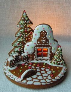 Gingerbread House Cookie, the link is broken but I this picture shows a great idea.