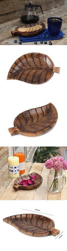 Store Indya Wooden Serving Tray Platter with Leaf Design Handmade Serveware Kitchen Accessories