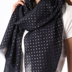 Ladies' Navy Blue tiny hearts foil print scarf, by Style Slice, features shiny metallic scatter of lovehearts printed in rose gold. Elegant spring or summer shawl that can be personalised with a charm or a monogram. Suitable as a gift for anniversary, birthday or any day in which to tell the woman in your life, be it a Mum, Wife, Sister or Girlfriend, that she is special. #scarf #shawl #wrap #scarves #fashion #vintage #handmade #acessories #etsy #gift #sparkle #glitter #headwrap #ootd