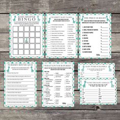 Teal and Gray Giraffe Baby Shower Game Package - Bingo - Price is Right - Whats in Your Purse - Activities - Baby Shower Games 236
