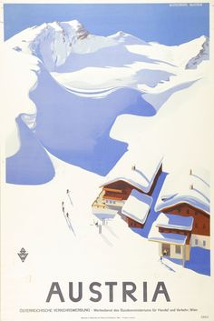 Large Vintage Travel Poster Skiing in Austria: Amazon.co.uk: Kitchen & Home #VintageTravel