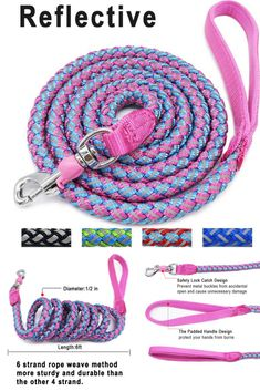 Mycicy Rope Dog Leash - 6 Foot Reflective Dog Leash - Mountain Climbing Nylon Braided Heavy Duty Dog Training Leash for Large and Medium Dogs Walking Leads Dog Training Tools, Rope Dog Leash, Mountain Climbing, Pink Dog, Medium Dogs, Metal Buckles, Dog Walking, Small Dogs, Weaving
