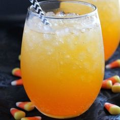 Layered drinks can be so fun for parties, and this Candy Corn Punch is perfect for Halloween!
