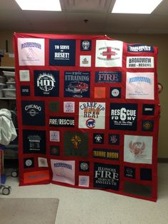 T shirt quilt of firemans t shirts T-shirt Quilts, Rag Quilt, Baby Quilts, Quilt Blocks, Memory Quilts, Quilting Projects, Quilting Designs, Quilting Ideas, Sewing Projects