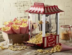 Concessions stand rentals like like an old-fashioned cotton candy machine or frozen drink machine are perfect for any event theme or type. Popcorn Stand, Popcorn Bar, Popcorn Cones, Popcorn Machine Rental, Slushie Machine, Wedding Snacks, Wedding Candy, Wedding Ideas, Wedding Decor